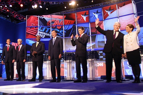 GOP candidates stand on stage at the CNN Western Republican debate in Las Vegas, Nevada