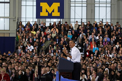 President Obama delivers remarks on college affordability at the University of Michigan in Ann Arbor