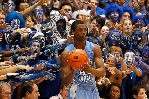 The University of North Carolina's Barnes looks to make an in-bounds pass during the second half of North Carolina's NCAA basketball game against Duke University in Durham
