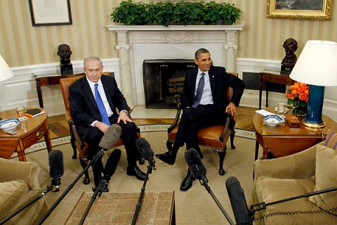 U.S. President Barack Obama meets with Israel's Prime Minister Benjamin Netanyahu in the Oval Office of the White House