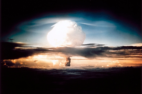 Mushroom cloud from the first test of a hydrogen bomb, 1952.