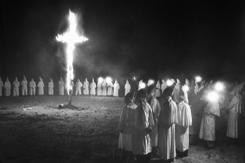 Cross burning at nighttime Ku Klux Klan