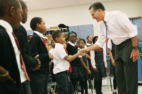 Romney Visits Philadelphia School