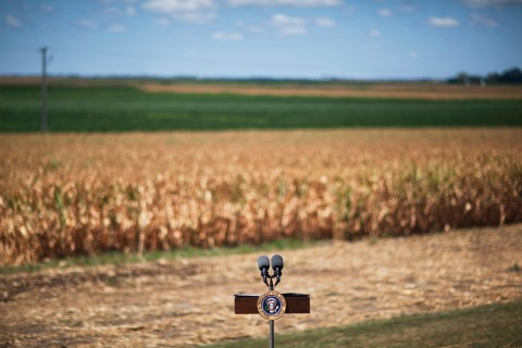 A lectern set up for President Barack Obama and Secretary of Agriculture Tom Vilsack at the McIntosh family farm