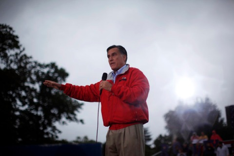 U.S. Republican presidential nominee and former Massachusetts Governor Mitt Romney speaks at campaign rally at Lake Erie College in Painesville, Ohio