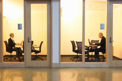 man woman office