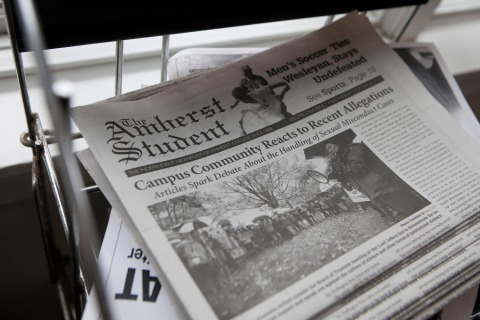 Image: An Amherst College campus newspaper featuring reaction to a student's account of rape