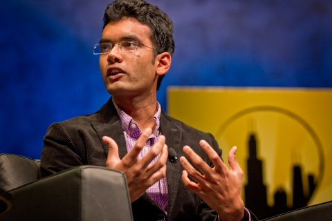"Akshay Kothari speaks to Richard Stengel, Managing Editor at TIME, at Chicago Ideas Week presentation ""Future of News: What's the Story?"" Presented by TIME."