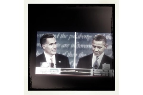 Massachusetts Gov. Mitt Romney and President Barack Obama during their first debate at the University of Denver on Wednesday, Oct. 3, 2012.