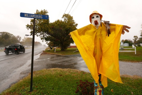 Image: A Halloween scarecrow fitted with a rain poncho