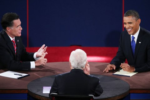 image: President Barack Obama debates with former Gov. Mitt Romney as moderator Bob Schieffer listens at the Keith C. and Elaine Johnson Wold Performing Arts Center at Lynn University in Boca Raton, Fla., Oct. 22, 2012.