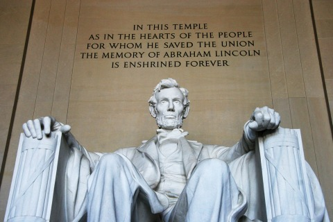 Image: The statue of Abraham Lincoln, 16th President of the United States, enshrined in the Lincoln Memorial
