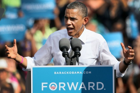 Image: President Obama speaks during a campaign rally