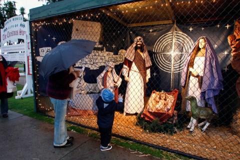 Image: Nativity scene in Palisades Park, Santa Monica