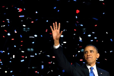 Image: President Barack Obama waves to supporters after his victory speech