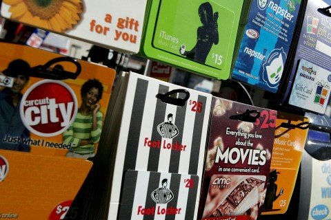 Gift cards from various retailers are seen on display at a Chevron service station convenience store Dec. 19, 2006 in San Francisco, Calif.