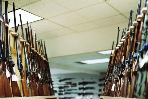 IMAGE: Guns line Wade's Gun Shop in Bellevue, Wash.