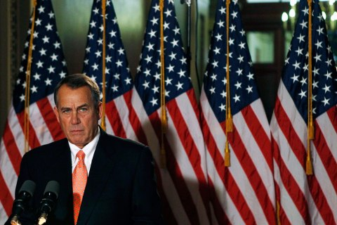 image: House Speaker John Boehner makes a brief statement to the media at the Capitol in Washington, Dec. 19, 2012.