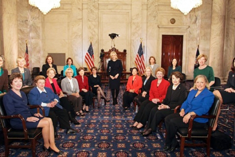 image: Female Senators sit down for an interview with ABC's Diane Sawyer.