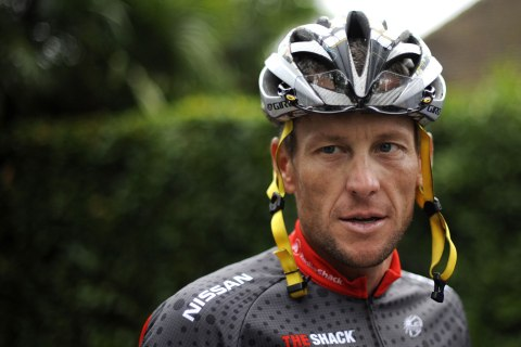 image: Lance Armstrong for a training session during the second of the two rest days of the 2010 Tour de France cycling race in Pau, France, July 21, 2010.