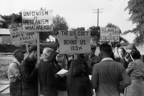 A group of Union members picketing