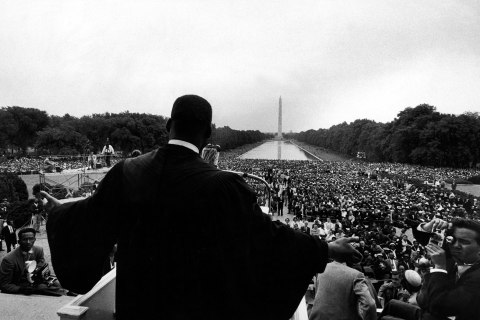 Reverend Martin Luther King Jr. speaking at 'Prayer Pilgrimage for Freedom' at Lincoln Memorial, May 17, 1957.