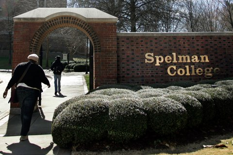 Students walk past the entrance to Spelman College in Atlanta, Ga., on February 12, 2009.