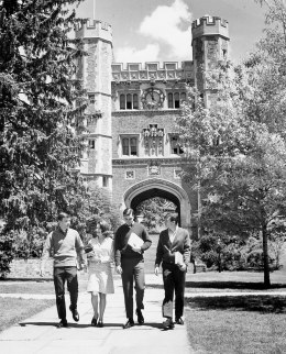 Archival photograph of young Princeton students walking on campus in Princeton, N.J.