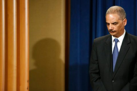Attorney General Eric Holder attends a news conference at the Justice Department in Washington, D.C., on May 14, 2013.