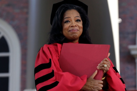 Oprah Winfrey receives an honorary Doctor of Laws degree from Harvard University during commencement ceremonies in Cambridge, Mass.