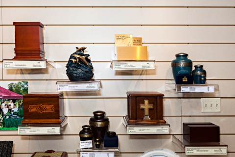Urns appear on sale at Bradshaw—Stillwater/East Metro Celebration of Life Center in Stillwater, MN.