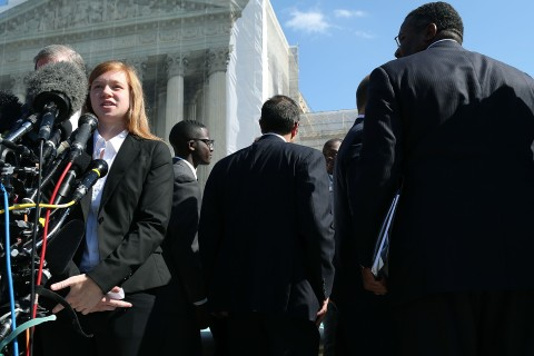 Abigail Fisher speaks to the media after the U.S. Supreme Court Supreme heard arguments in her case on Oct. 10, 2012 in D.C.