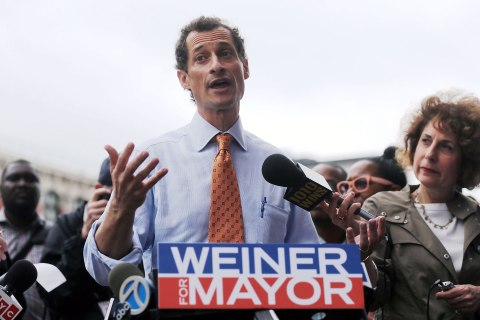 Anthony Weiner greets NYC Commuters Day after announcing his mayoral bid in New York City, on May 23, 2013.