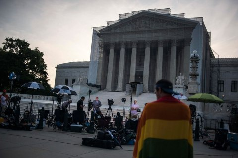 Journalists stake out positions early in the morning to report on decisions expected in two cases regarding same-sex marriage at the U.S. Supreme Court in Washington