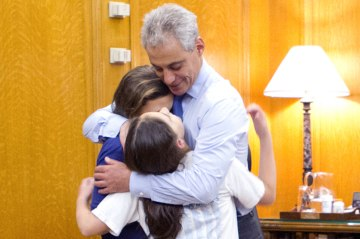 Rahm Emmanuel with his daugthers, Illana and Leah.
