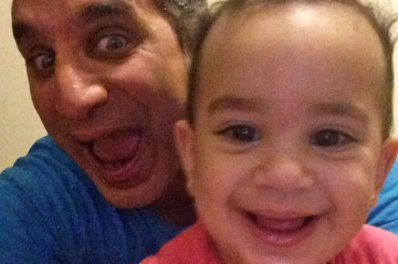 Bassem Youssef with his daughter, Nadia.