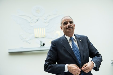 U.S. Attorney General Eric H. Holder arrives for a hearing of the House Judiciary Committee on Capitol Hill in Washington, D.C., on May 15, 2013.
