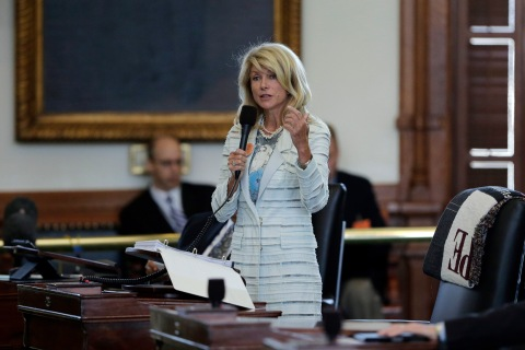 Senator Wendy Davis filibusters in an effort to kill an abortion bill in Austin, on June 25, 2013.