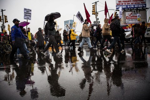 Activists march against police stop-and-frisk tactics on February 23, 2013 in New York City.