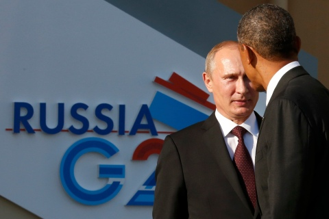 From left: Russian President Vladimir Putin welcomes U.S. President Barack Obama before the first working session of the G20 Summit in Constantine Palace in Strelna near St. Petersburg, on Sept. 5, 2013.