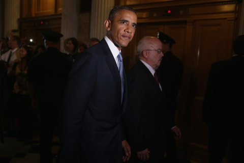 U.S. President Barack Obama leaves a policy luncheon after meeting with Senate Republicans at the U.S. Capitol in Washington, D.C.,  on Sept. 10, 2013.