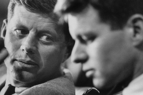 From left: Then Senator John F. Kennedy and committee counsel Robert F. Kennedy at a hearing of a Senate select committee on labor racketeering.