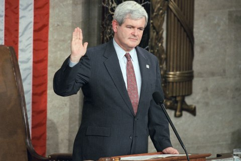 Rep. Newt Gingrich is sworn in as House Speaker, Wednesday, Jan. 4, 1995 in the House chambers on Capitol Hill in Washington.