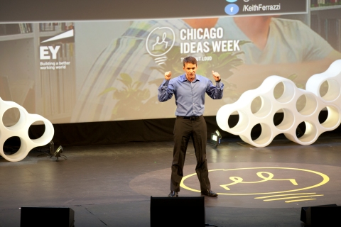 "Keith Ferrazzi speaks during the ""Work: Fueling Performance"" talks at Chicago Ideas Week, in Chicago on Oct. 16, 2013."