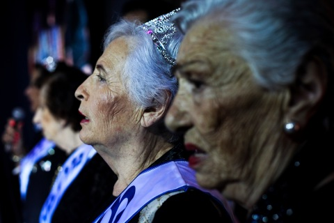 Hershkovitz, a Holocaust survivor and winner of a beauty contest for survivors of the Nazi genocide, stands with other contestants during the contest in Haifa