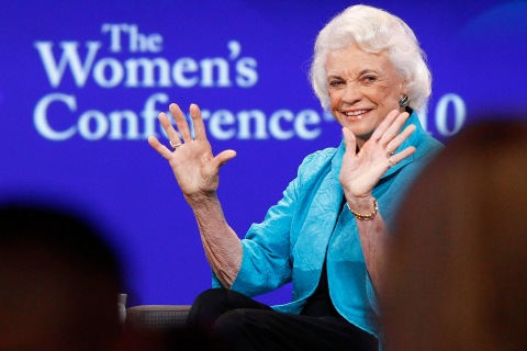 Retired Supreme Court Justice Sandra Day O'Connor speaks during the lunch session of The Women's Conference in Long Beach