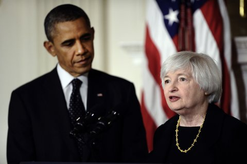 From left: U.S. President Barack Obama listens to economist Janet Yellen after she was nominated as Federal Reserve chairman at the White House in Washington, D.C., on Oct. 9, 2013.