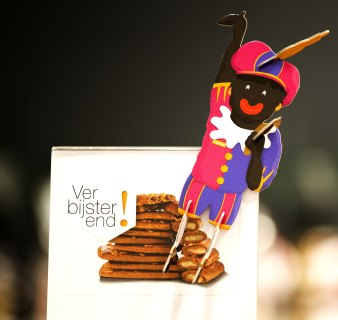 A decorative Zwarte Piet (Black Pete) is displayed in a department store in The Hague, The Netherlands, on November 15, 2013.