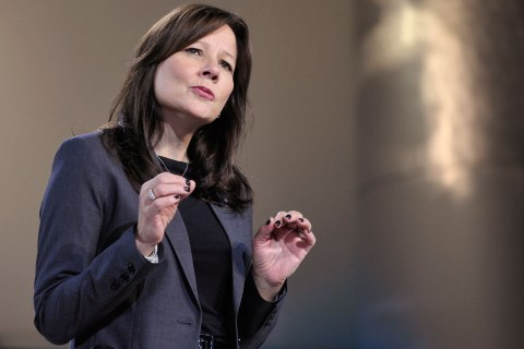 File picture shows Mary Barra speaking in Detroit, Michigan