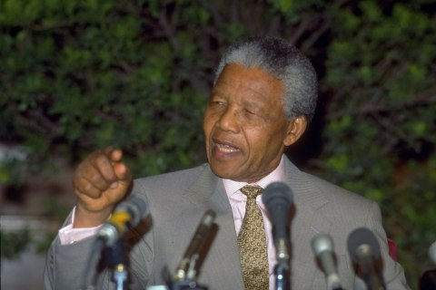 Nelson Mandela holds a press conference in Beijing in Oct. 1992.